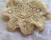 "9 = 5"" ecru coasters doilies hand made lace never used as found"