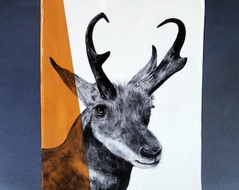 Hand Painted Pronghorn Portrait Wall Tile Deep Yellow