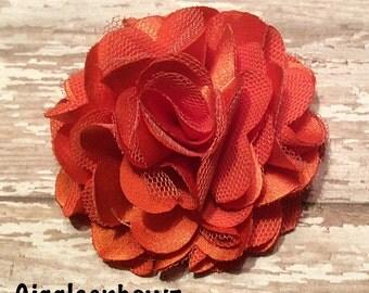 Autumn Orange Satin and Tulle Puff Flower- 3 inch- Headband Supplies- Fabric Flower- Craft Supplies- Diy Flowers- Halloween Headband Flower