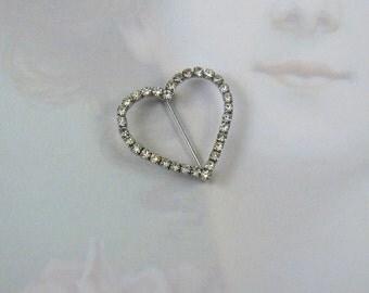 Happy Heart Rhinestone Heart Brooch Dainty & Delicate I Heart You :)