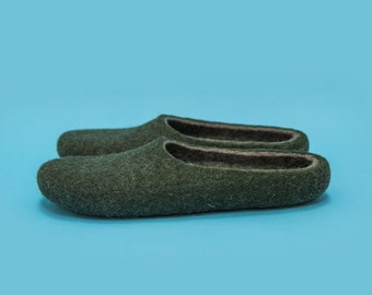 "Smoky Moss"" Hand felted wool slippers by Onstail"