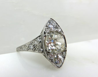 Circa 1915 Edwardian Platinum Engagement Ring Centered with 1.45 Carat Old European Cut Diamond