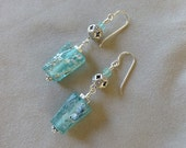 Ancient Roman Glass and Thai Silver Earrings in Teal