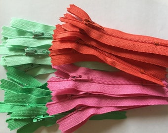 3 inch YKK zippers, mint, pink, coral, 20 pcs in 4 colors