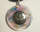 Libra Symbol Real White Flowers Blue Purple Glitter  Charm  Resin Pendant Necklace Nature Bohemian Jewelry Astrology Zodiac Sign