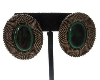Modernist Oval Shape Vintage Unmarked Bronze Mesh Metal Dragon's Eye Green & Black Glass Oval Cabochon Pierced Earrings