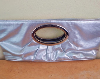 80s disco style clutch purse Silver leather