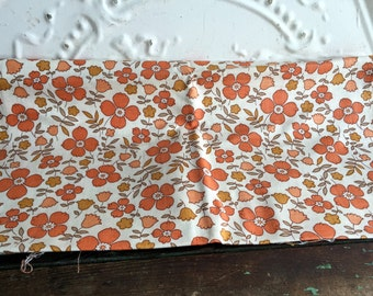 Vintage Feedsack fabric Creme with orange flowers Partially Cut 39x35""