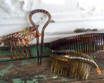 Antique Lot Art Deco Faux Tortoise Hair combs Rhinestones