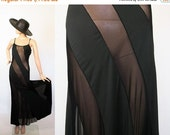 Vintage Sheer Illusion Nightgown Lingerie / Black Nightie Boudoir / Fredericks of Hollywood Negligee Maxi / Medium
