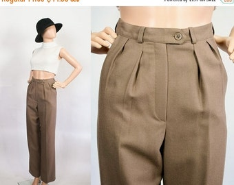SALE Vintage High Waist Trousers / Pleated Slacks / High Waisted Pants / Merino Wool / Cappuccino Brown / Extra Small
