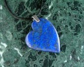 Lapis Lazuli Heart Pendant Necklace with Sterling Silver Bail on Black Satin Cord