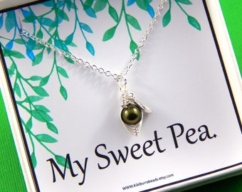 Pea Pod Necklace, Pea In A Pod Gift Box, New baby, Friendship Necklace, Sisters, Shower Gift, wife gift, Choose Your Colors