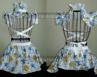 Girl dress ideas Anime Finn Adventure time inspired cosplay burlesque set Skater skirt and collar bolero