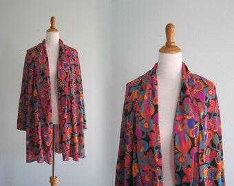 Vintage Oscar de la Renta Swimsuit Coverup - Designer 80s Robe with Glam Jewel Tone Print - Vintage 1980s Swim Cover Up os