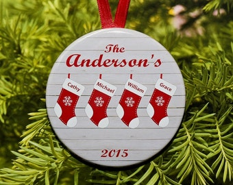 Christmas Stocking Family Ornament  - customized with names and year - up to 9 names - C099