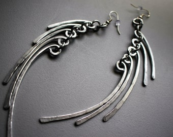 Hammered Silver Aluminum Wire Goddess Banana Angel Wings Feather Earrings BOLD Outrageous