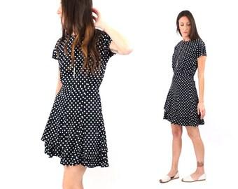 vintage 80s black + white POLKA DOT ruffle MINI dress M