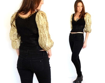 vintage PUFF sleeve gold + black woven sweater top XS-S