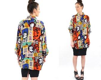 vintage 90s multicolor BAROQUE print TUNIC blouse M