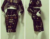 Sample SALE: African Print Fitted Skirt/Crop Top Set (sample size S, 4/6)