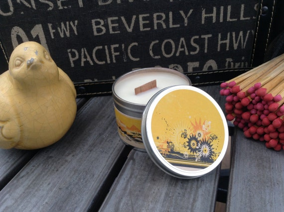 Wood Wick Soy Candle Lemon Scented Candles Travel Tin Soy