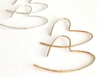 Small Heart Hoops. Small Hammered Hoop Earrings