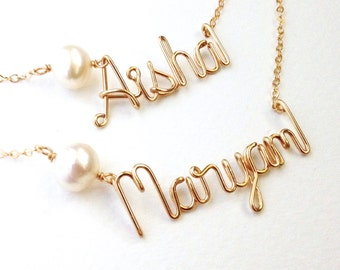 Personalized Custom Gold Name Necklace with White Freshwater Pearl. Pearl Name Necklace in 14k Gold Fill