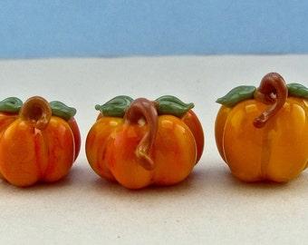 Pumpkin Bead Trio #1 - Handmade Lampwork Glass Bead SRA
