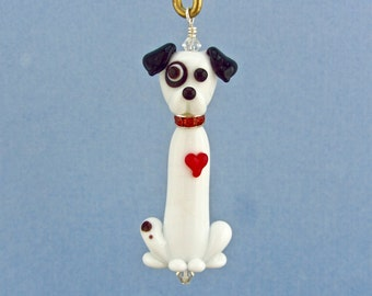 Jack Russell with Bullseye and Heart - Lampwork Glass Ornament - SRA