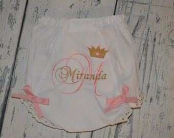 Personalized Baby Bloomers Diaper Cover Princess Tiara