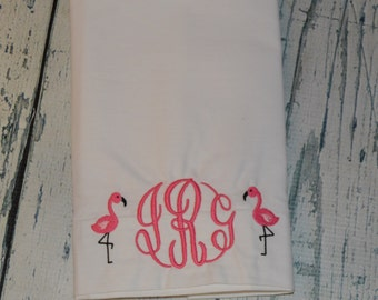 PERSONALIZED  Flamingo Pillowcase Toddler or Standard Size