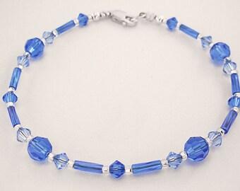 Sapphire Blue Bracelet in Swarovski Crystal and Czech Glass