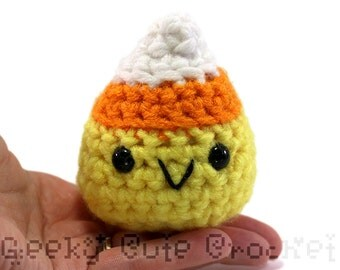 Large Candy Corn Amigurumi Crocheted Candy Toy Plush Fall Halloween