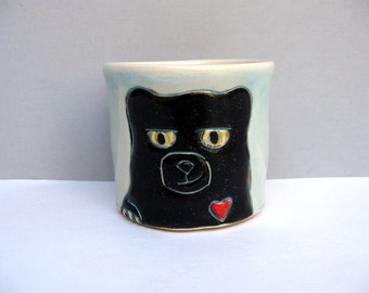 Black Bear Cup, Small, Blue and Black Shot Cup or Ceramic Shot Glass with Bear with Red Heart, Bar Ware or Child's Cup, Animal Pottery