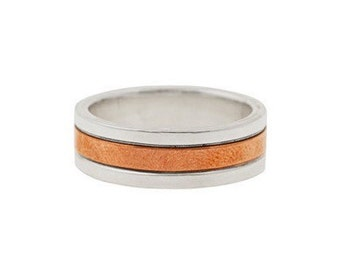 Sterling Silver and Copper Inlay Ring- Mens Wedding Band- Made to Order in your Size
