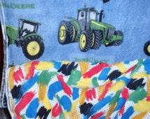 "Tie Blanket Kit John Deere Blue Plaid Patch 2 Yards & 2 Yards Backing Fleece Fabric  59"" Wide 100 Polyester"