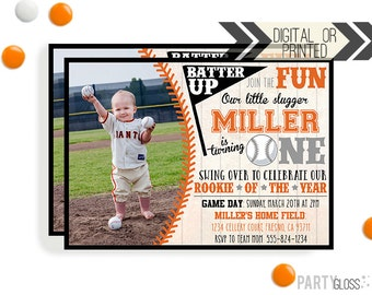 Baseball Birthday Invitation | Digital or Printed | Baseball Invitation | Rookie Year Invitation |  Rookie Invite | Baseball Party Invite