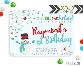Snowman Birthday Invitation | Digital or Printed | Snowman Invitation | Onederland Invite | Red Aqua Green Birthday Invitation | Snowman