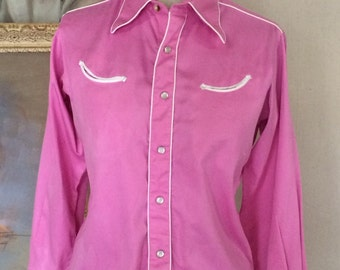Vintage Rockmount Ranch Wear - Tru West - Pink Western Shirt - Pearl Snaps - Smilie Pockets - Rodeo Shirt - Vintage Cowgirl Shirt - 36 Bust