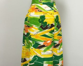 1970s Wrap Skirt  - Classic 70s Colors - Op Art Abstract - MCM - Mod Colorful Spring Summer - Orange Yellow Green - Cheery Happy - 28 Waist
