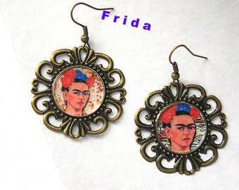 FRIDA KAHLO earrings altered art day of the dead mexico folk  ooak one of  a kind fiesta difuntos
