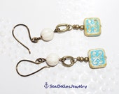 Beige with blue Brass Pair of Earrings, gift for friend, wedding party, everyday wear, jewelry