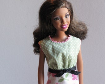Barbie Clothes - Handmade Dress in Green Polka Dots with Pink Daisy Print - Modest Barbie