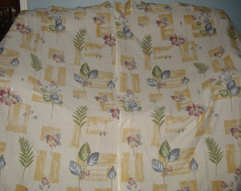 VINTAGE Country Floral curtains 2 wide long panels