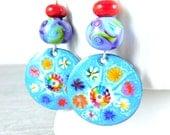 Colorful Enamel Dangle Earrings, Blue Purple Red Boho Earrings, Enameled Copper Jewelry, Rainbow Flower Murrini, Lampwork,  Glass,  Unique