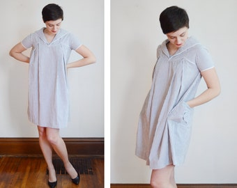 As Is 1960s Grey and White Striped Seer Sucker Dress - S