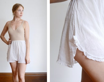 1920s White Cotton Tap Shorts - S