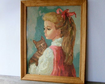 Vintage Paint-by-Number ~ Girl with Cat~ Kitsch ~ Large Framed Portrait