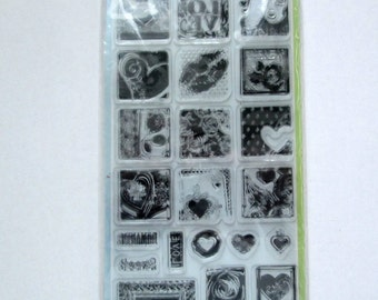 Clear Stamps Hearts and Roses Set, Rubber Stamp, Heart, Roses, Love, Inkadinkado